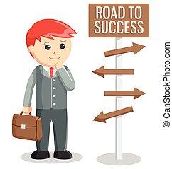 negócio, estrada, sucesso, homem