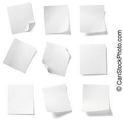 negócio, etiqueta, bloco de notas, branca, mensagem