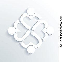 negócio, etiqueta, branca, coração, 4