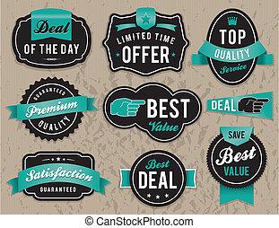 negócio, etiquetas, retro, emblemas
