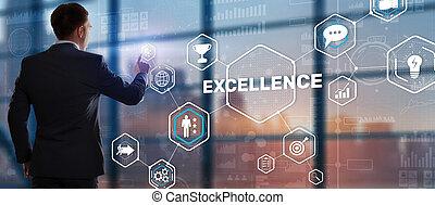 negócio, excelência, perseguição, 2021., concept.