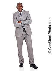 negócio executivo, jovem, americano, posar, africano