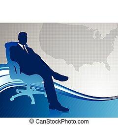 negócio executivo, ligado, mapa, fundo