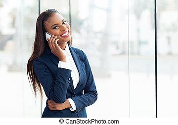 negócio executivo, telefone, americano, chamada, africano, fazer
