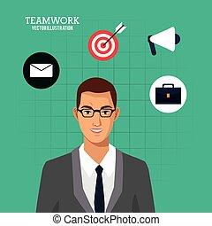 negócio, experiência verde, paleto, homem, óculos