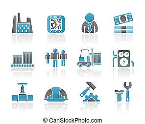 negócio, fábrica, e, moinho, ícones