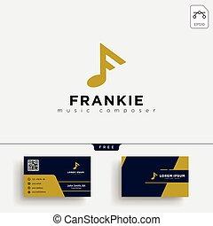 negócio, f, música, modelo, logotipo, cartão