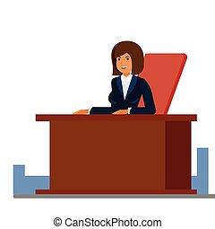 negócio, femininas, recepcionista, caricatura, apartamento, vetorial, ilustração, conceito, ligado, isolado, fundo branco