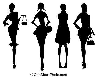 negócio, femininas, silueta