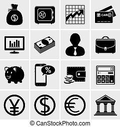 negócio & finanças, ícones