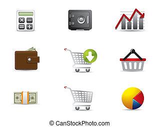 negócio & finanças, ícones correia fotorreceptora