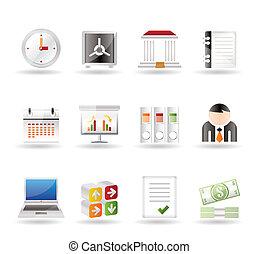 negócio, finanças, ícones escritório