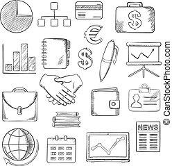 negócio, finanças, e, ícones escritório, esboços