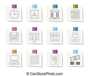 negócio, finanças, e, ícones escritório