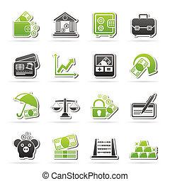 negócio, finanças, e, banco, ícones