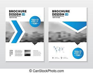 negócio, folheto, design., relatório anual, vetorial,...