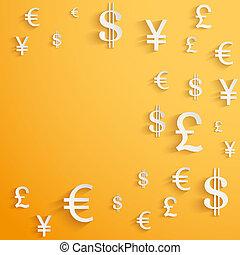 negócio, fundo, com, moeda corrente dinheiro, símbolos