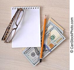 negócio, fundo, papel-moeda