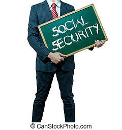 negócio, fundo, tábua, segurando, segurança social, homem