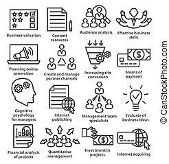 negócio, gerência, ícones, linha, style., pacote, 09.