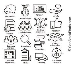 negócio, gerência, ícones, linha, style., pacote, 26.