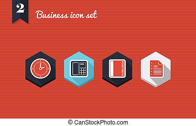 negócio, gerência, apartamento, ícones