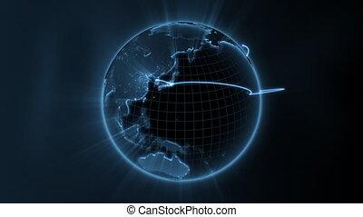 negócio global, -, centro, volta