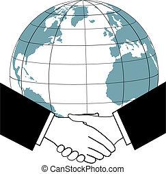 negócio global, comércio, nações, acordo, aperto mão, ícone