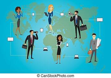 negócio global, conceito, vector.