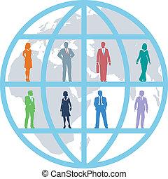 negócio global, mundo, pessoas, recursos, equipe