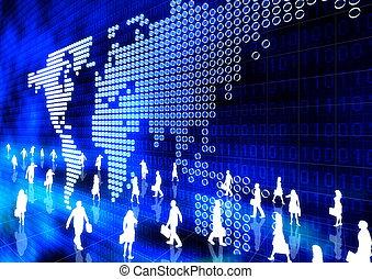 negócio global, online