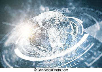 negócio global, tecnologias, conceito