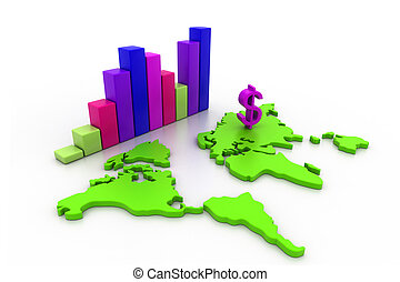 negócio, gráfico, com, mapa mundial