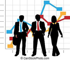 negócio, gráfico, companhia, vendas desenham, crescimento, equipe