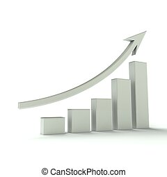 negócio, gráfico de barras, branca