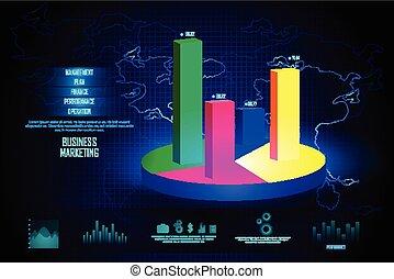 negócio, gráfico financeiro, mapa, diagrama