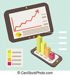 negócio, gráfico, notificação, esperto