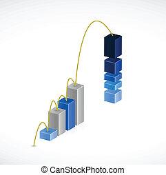 negócio, gráfico, salto, ilustração, desenho