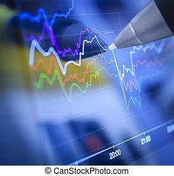 negócio, gráficos, e, mercados
