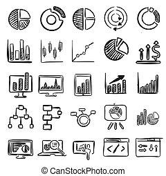 negócio, gráficos, vetorial, doodles