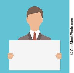 negócio, grande, papel, segurando, em branco, homem