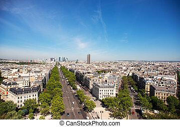 negócio, grande, paris, defesa, skyline., armee, área, avenue., la