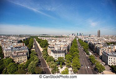 negócio, grande, paris, defesa, skyline., armee, área, foch., avenida, la