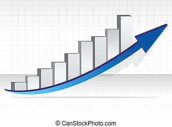 negócio, graph., negócio, sucesso