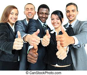 negócio, grupo, com, polegares cima, isolado, sobre, fundo branco