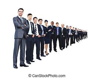 negócio, grupo, uma fileira, isolado, sobre, um, fundo branco