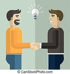 negócio, handshake.