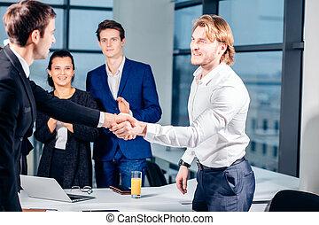 negócio, handshake., negócio, aperto mão, e, pessoas negócio, conceito