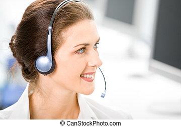 negócio, headset, operador