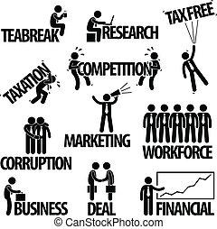 negócio, homem negócios, texto, conceito